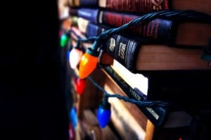 christmas lights on books